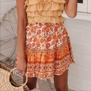 Dresses & Skirts - Boho Floral Gypsy Print Mini Skirt Ruffle Tier
